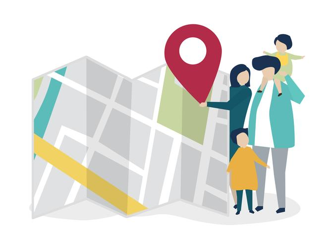 Personagens da família com um mapa e ilustração de marcador de GPS
