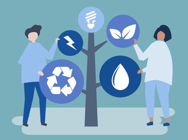Tecken på människor och ett träd av miljö ikoner illustration