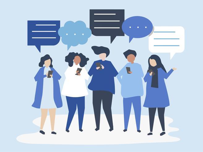 Personajes de personas chateando a través de smartphones ilustración.