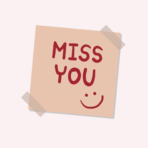 Miss you sticky note illustration
