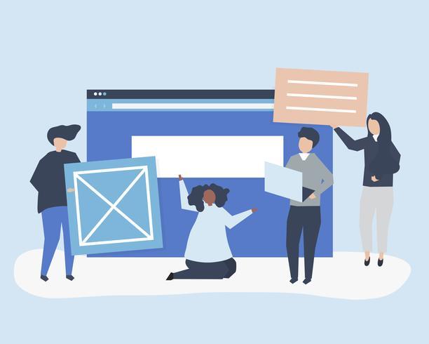 Tecken på personer som håller webbplatsens ikoner illustration