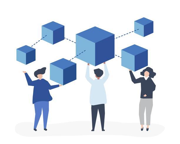 Tecken på personer som har en blockchain nätverk illustration