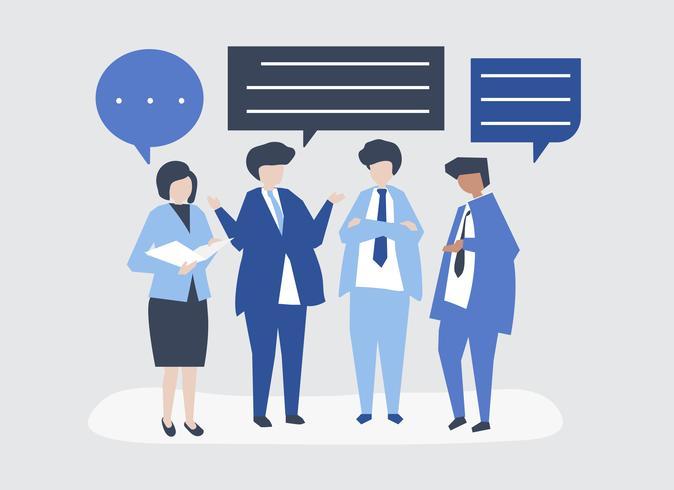 Carácter de la gente de negocios que tiene una ilustración de discusión