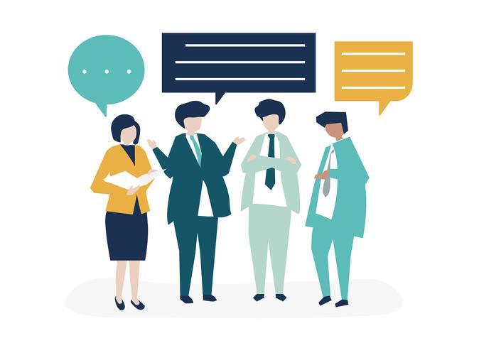 Karaktär av affärsmän som har en diskussions illustration