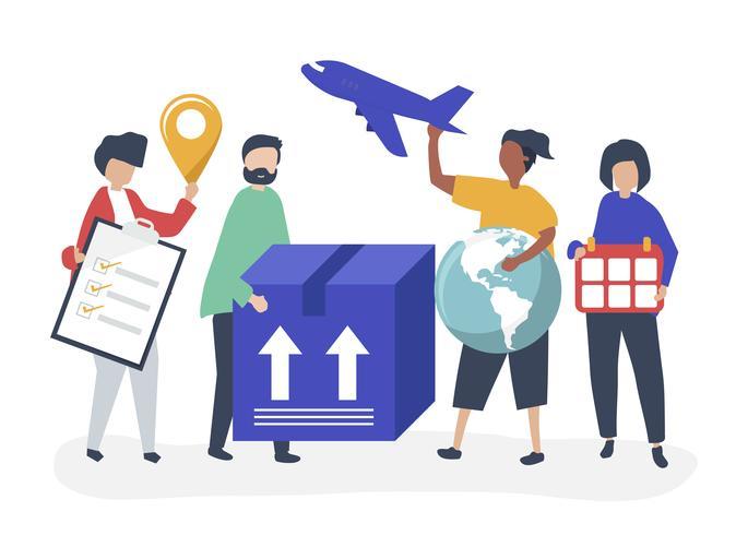 Charakterillustration von Leuten mit Paketen für Versand