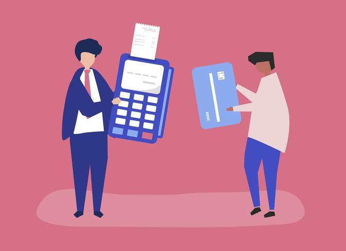 Charaktere von den Leuten, die eine Kreditkartentransaktionsillustration machen