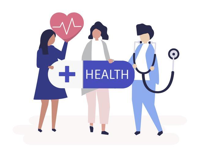 Caractères des personnes détenant des icônes d'icônes de soins de santé