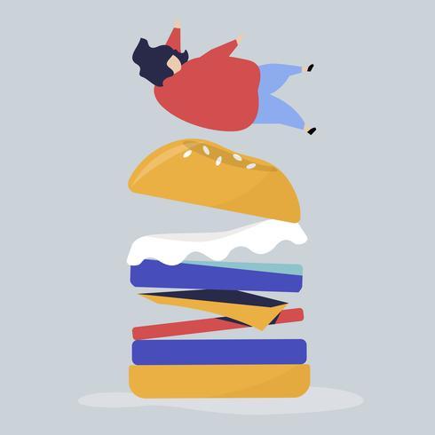 Personagem de uma pessoa caindo sobre uma ilustração gigante de hambúrguer