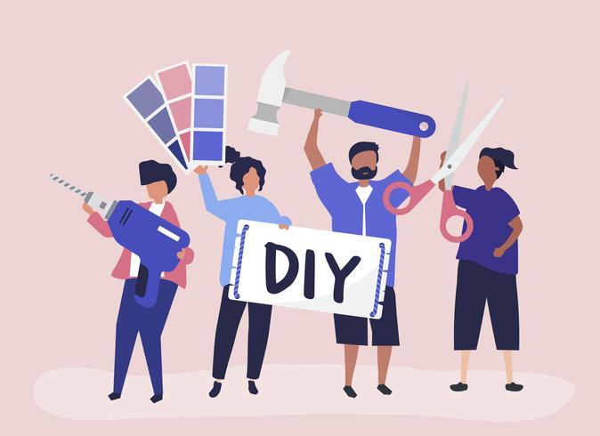 Charakterillustration des DIY-Heimwerkenkonzeptes