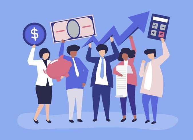 Bedrijfsmensen die de financiële illustratie van het de groeiconcept houden