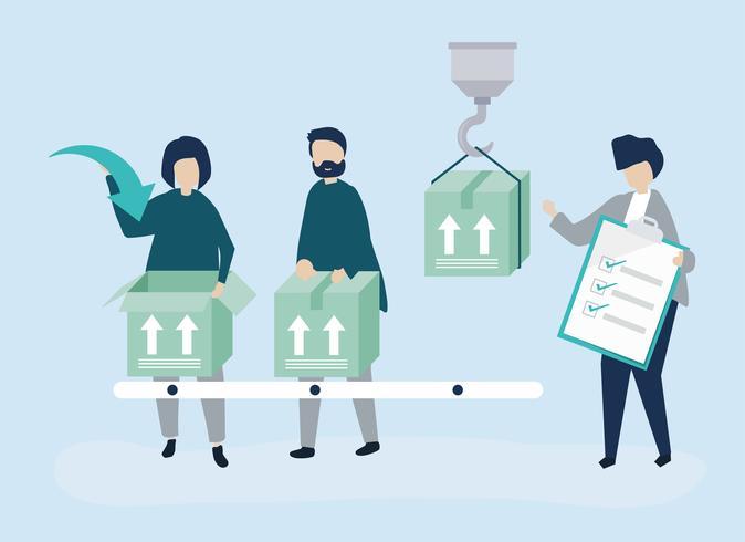 Karaktär illustration av personer med paket för leverans