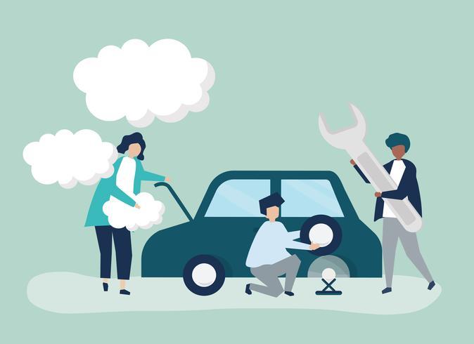 Folk som byter bildäck