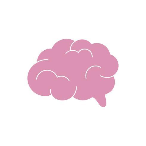 Ilustração gráfica de cérebro humano-de-rosa