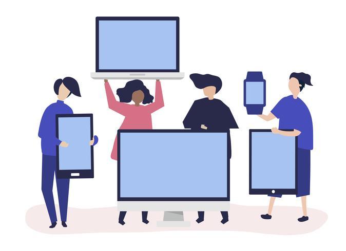 Illustrazione di carattere di persone con diversi dispositivi digitali