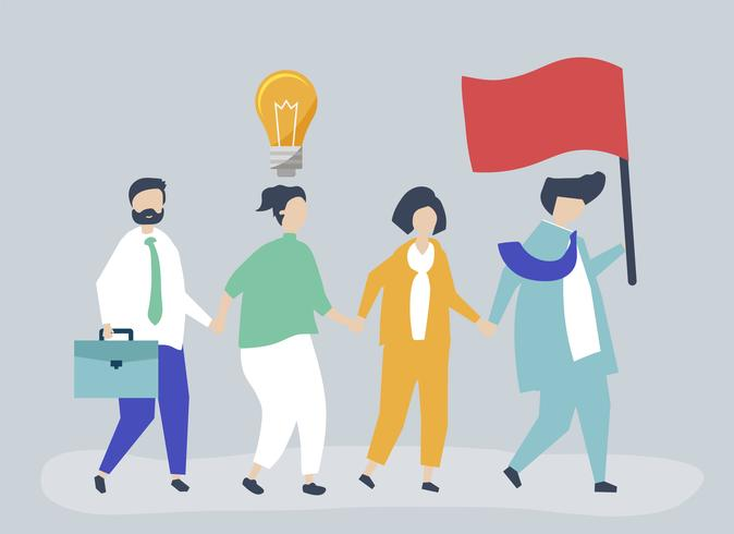 Business people following the leader to find a new market