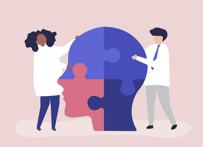 Persone che collegano pezzi di puzzle di una testa insieme