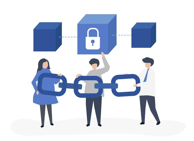 Security concept illustration of people holding a chain