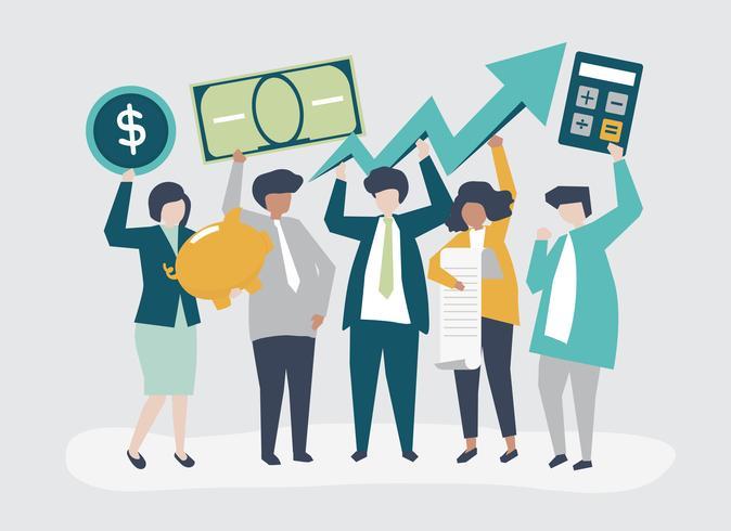 Hombres de negocios que celebran el ejemplo financiero del concepto del crecimiento