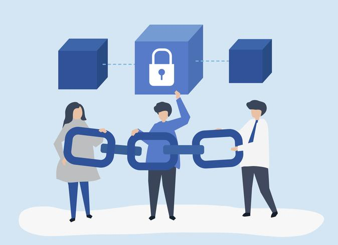 Illustration de concept de sécurité des personnes tenant une chaîne