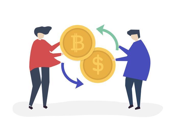 Leute tauschen Bitcoin gegen Dollar