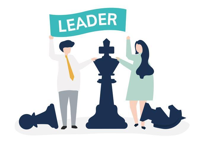 Gens d'affaires avec drapeau de direction et pièces d'échecs géantes