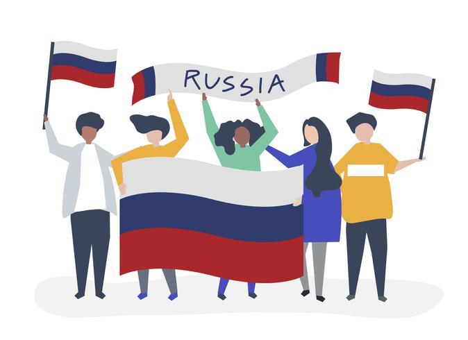 Persone in possesso di bandiere nazionali russe