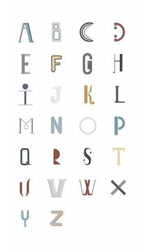 La ilustración de tipografía del alfabeto inglés.