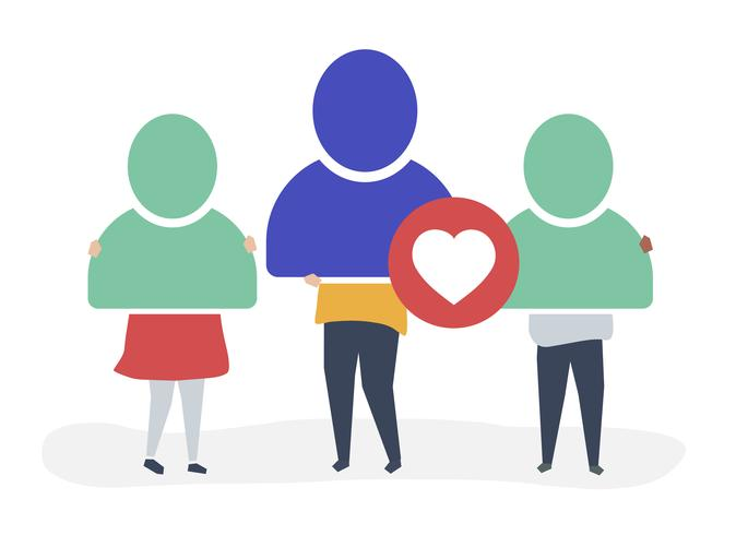 Character illustration of people with user account icons