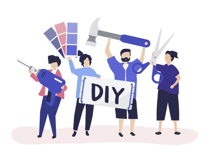 Karaktär illustration av DIY hem förbättring koncept
