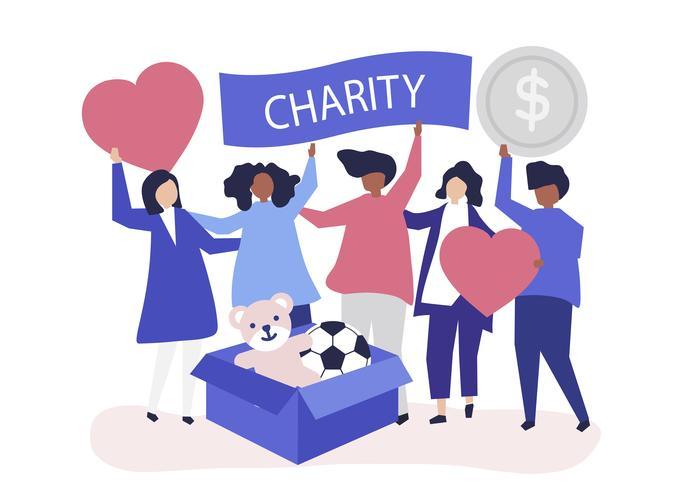 Gente voluntaria y donando dinero y artículos a una causa benéfica.