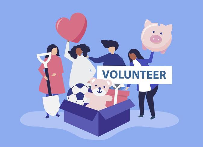 Menschen freiwillig und spenden Geld und Gegenstände für einen wohltätigen Zweck