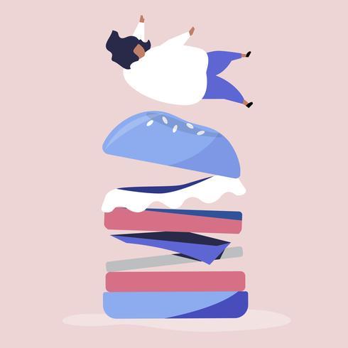 Caractère d'une personne qui tombe sur une illustration de hamburger géant