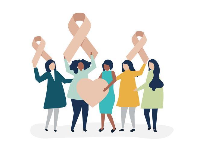 Pessoas segurando fitas cor de rosa em apoio da conscientização do câncer de mama