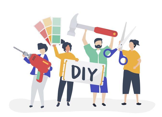 Karakterillustratie van DIY-het concept van de huisverbetering