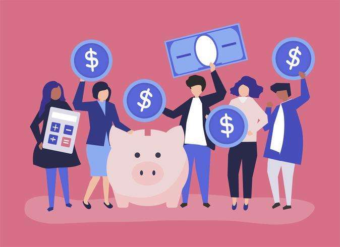 Grupo diverso de personas y ahorro concepto ilustración