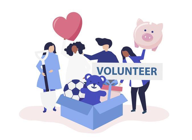 Personnes qui font du bénévolat et donnent de l'argent et des objets à une cause