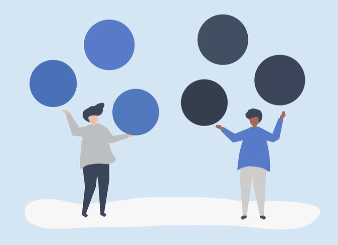 Charaktere von Leuten mit Kopienraumkreis-Ikonenillustration