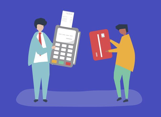 Personagens de pessoas fazendo uma ilustração de transação de cartão de crédito