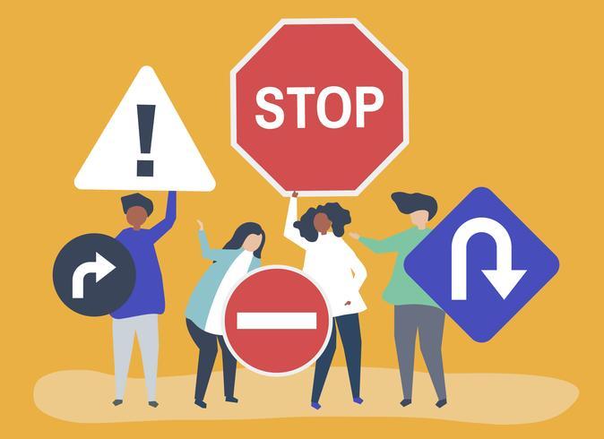 Teckenillustration av personer med trafikskyltikoner