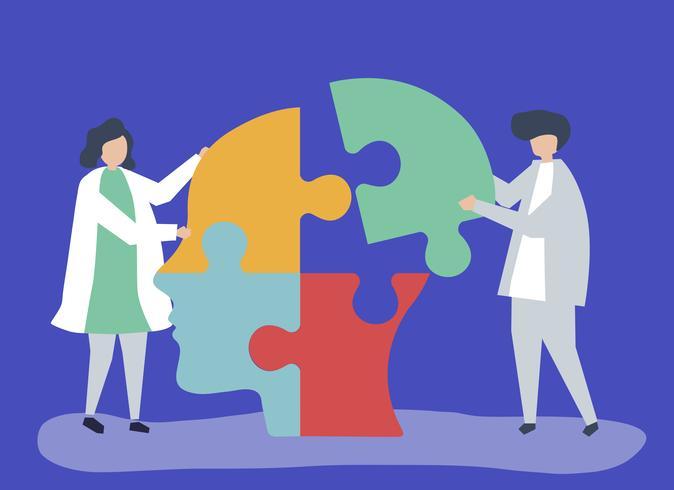 Menschen verbinden Puzzleteile eines Kopfes zusammen