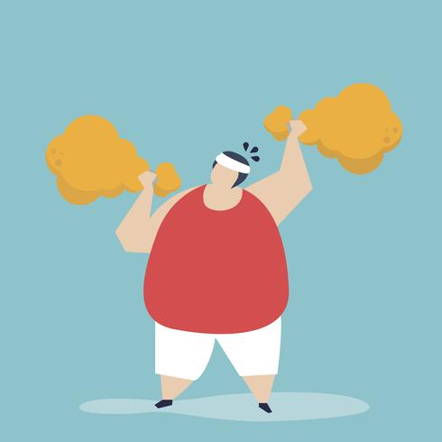 Bemannen Sie das Gewichtheben einer gebratenen Hühnertrommelstockillustration