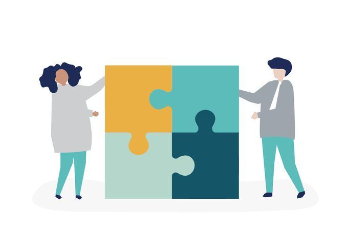 Personaje de una pareja resolviendo piezas de puzzle ilustración.