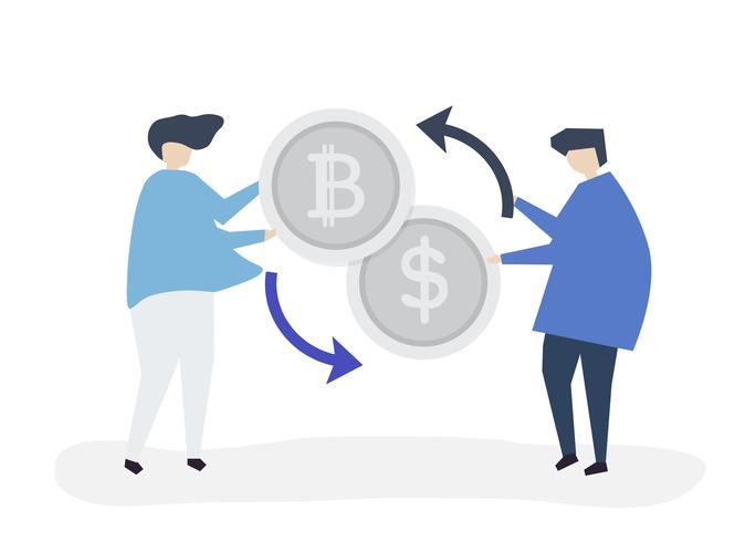 Pessoas trocando bitcoin por dólares