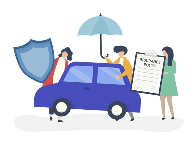 Personas con iconos relacionados con el seguro del automóvil.