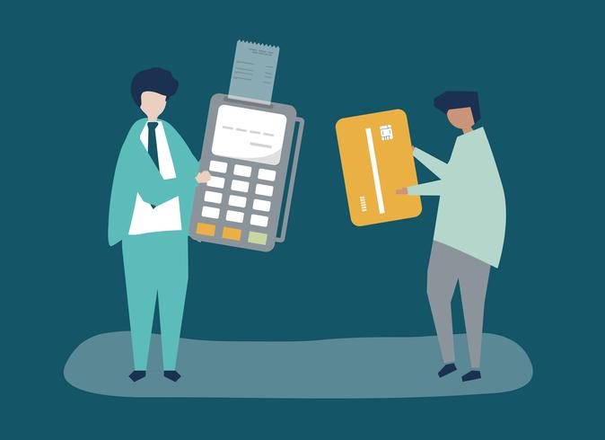 Tecken på personer som gör en kreditkorts transaktion illustration