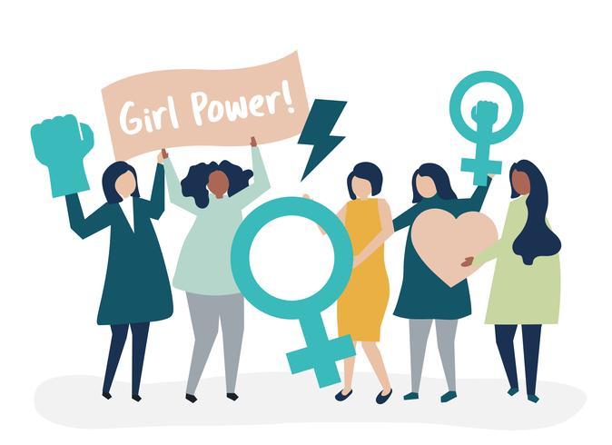 Feministas apoyando la igualdad de género con una manifestación pacífica.