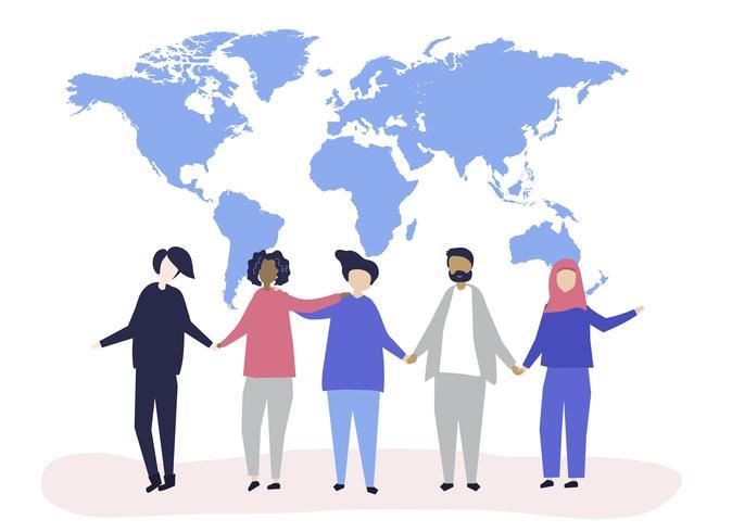 Ilustração de personagens de pessoas com uma ilustração do mapa do mundo