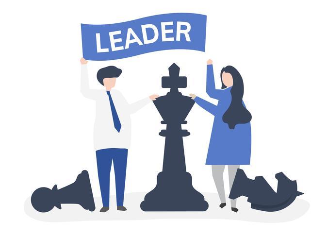 Affärsmän med ledarskapsflagg och jätte schackbitar
