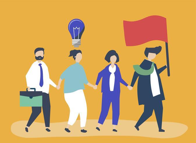 Geschäftsleute folgen dem Führer, um einen neuen Markt zu finden