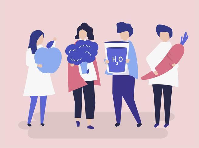 Personagens de pessoas segurando uma ilustração de comida saudável